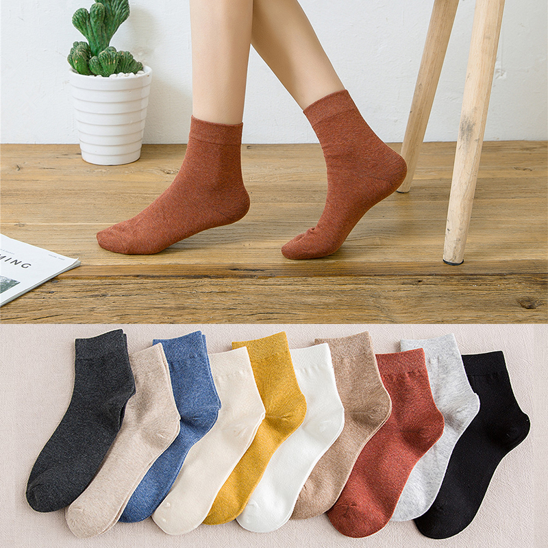HOT 10pieces = 5 Pairs Cotton Socks Autumn And Winter Warm Women Socks Colorful Special Comfortable Knitted Girls Casual Socks