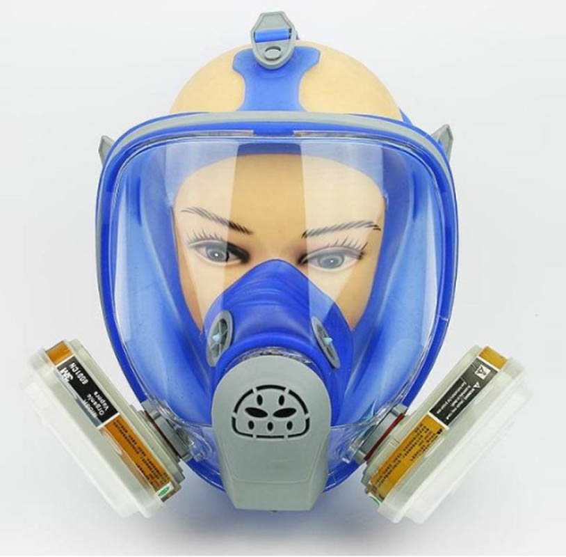 For 6800 Blue Silicone Gas Mask Full Facepiece Respirator 7 Piece Suit Painting Spraying Anti Dust 5N11 Filters 6001CN Cartridge 9 in 1 suit gas mask half face respirator painting spraying for 3 m 7502 n95 6001cn dust gas mask respirator