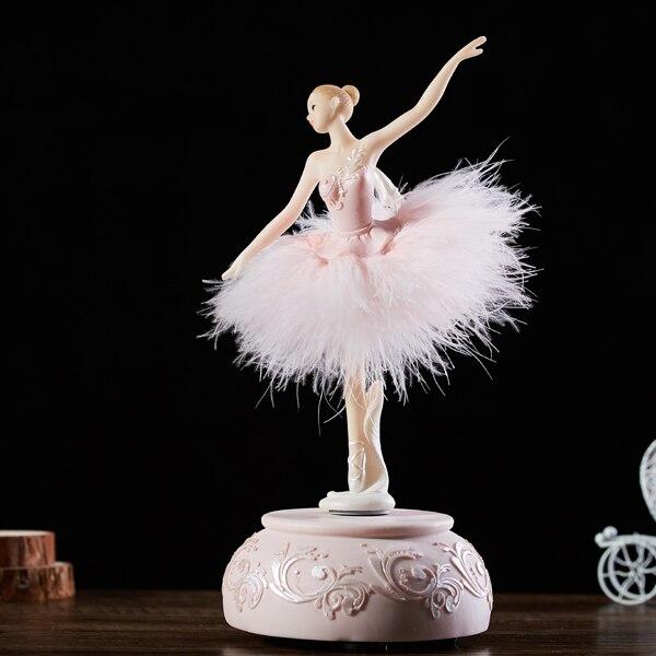 Ballerine rose aquatique boite à musique blanche Ballet fille rotative boite à musique jupe plume carrousel 3 dmariage cadeau d'anniversaire pour filles - 2