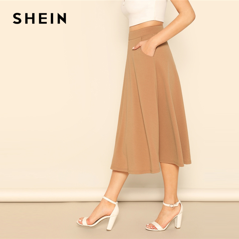 SHEIN Camel Pocket Side High Waist Plain Flared A Line Zipper Skirt Womens 2019 Spring Elegant Casual Streetwear Midi Skirt 2