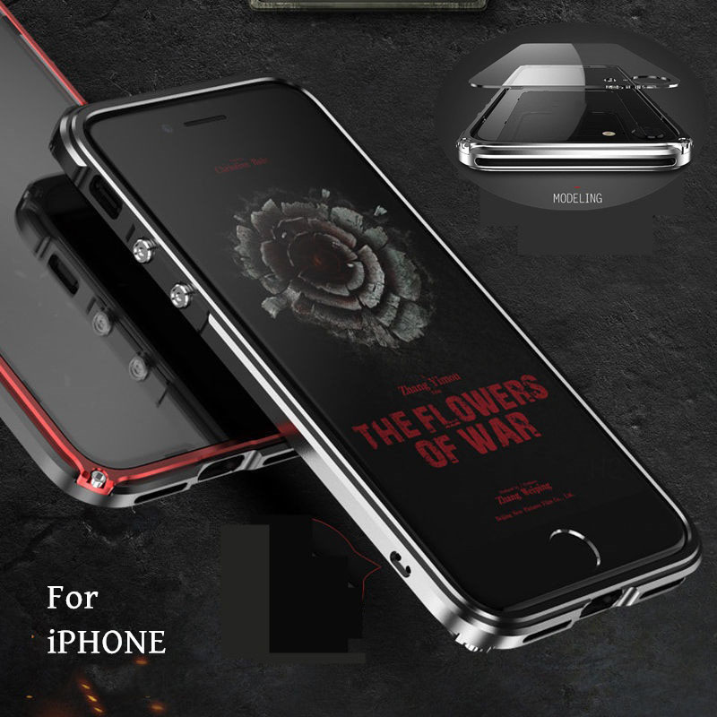 Proteção total do Metal No Vidro Traseiro Com Painel Traseiro Capa À Prova de Choque para o iphone X 6 Plus 6 SPlus 8 7 Plus Plus com Tela De Vidro Temperado