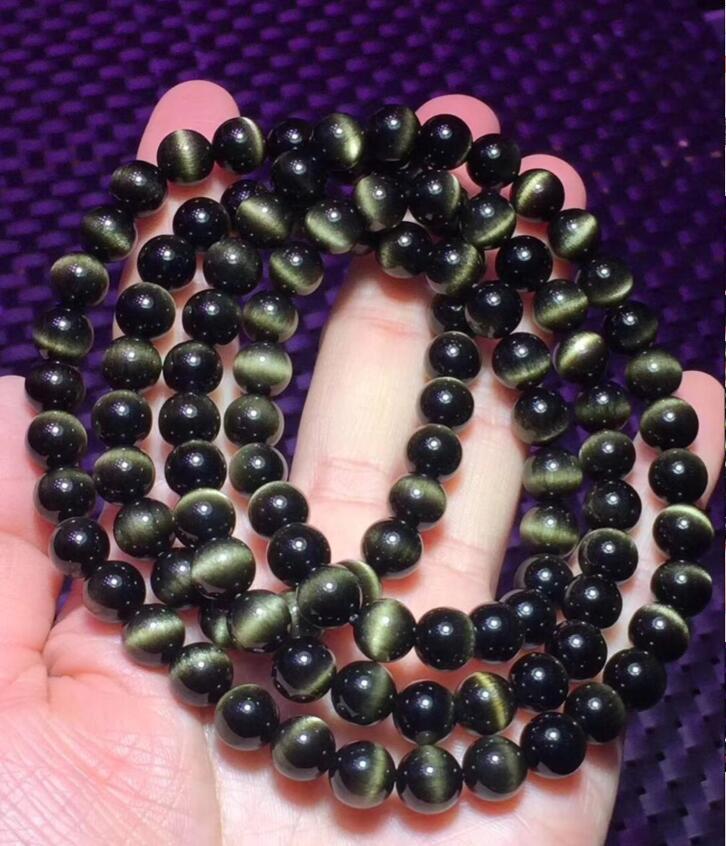 Livraison gratuite>> joli Bracelet en perles de cristal obsidienne en or naturel 8mm 108 100%