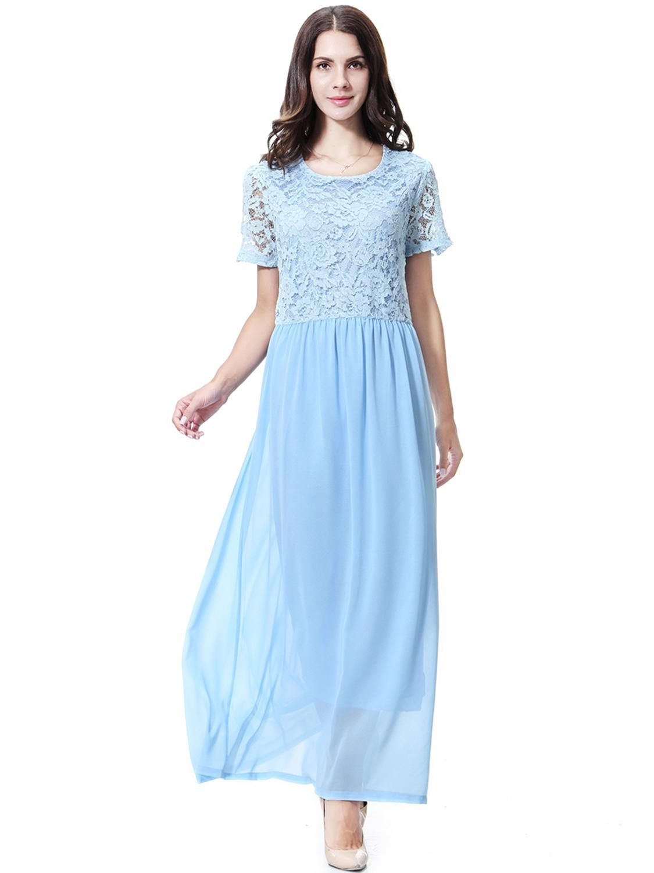 Arab Character Clothes Women Lace Abaya Muslim Two-layers Party Long Dresses Female Chiffon Vestidos