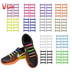 16 шт./партия, креативные силиконовые шнурки для мужчин и женщин, без галстука, шнурки, модные эластичные кроссовки, шнурки для обуви