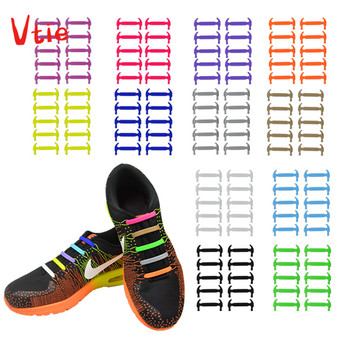16pcs/lot Creative Silicone Shoelaces Men Women No-Tie Shoelaces Fashionable Elastic Trainers Shoe Laces