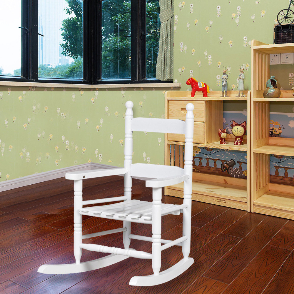Classic White Wooden Children Kids Rocking Chair Slat Back Furniture Bedroom HW56401