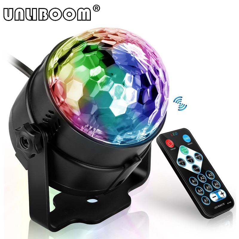 Mini Remote RGB LED Crystal Magic Rotating Ball Stage Lights Sound Activated Disco Light Music Christmas