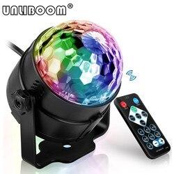 Mini controle remoto rgb led bola de cristal mágica rotativa luzes do palco som ativado luz discoteca música natal ktv festa ue/eua/reino unido plug