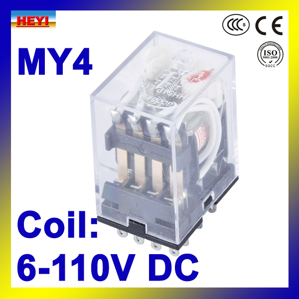 HH54P silver alloy contacts Coil voltage 6V 110V DC electrical relay