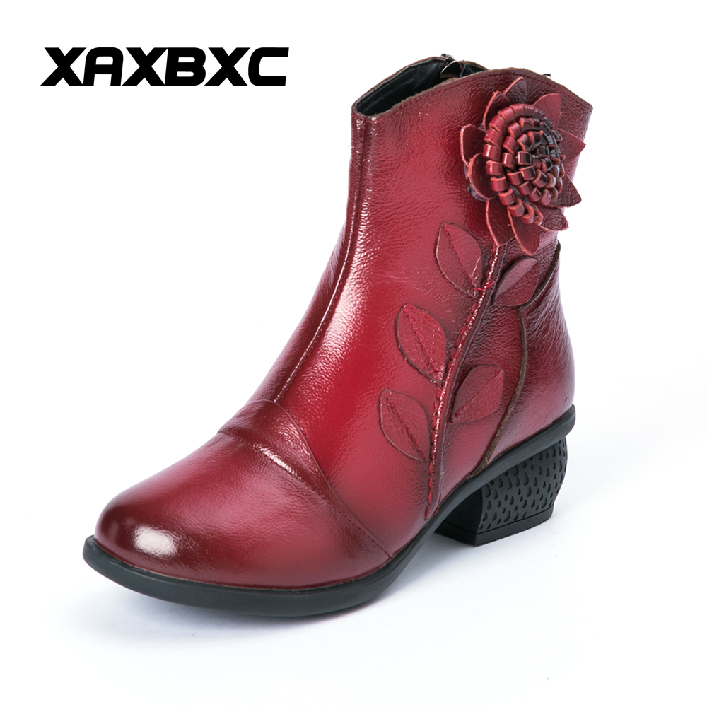 XAXBXC Autumn Winter Retro Nations Wind Genuine Leather Short Boots Women Zipper Flower Handmade Casual Lady Plus Size Shoes 2017 new autumn winter british retro men shoes zipper leather breathable sneaker fashion boots men casual shoes handmade