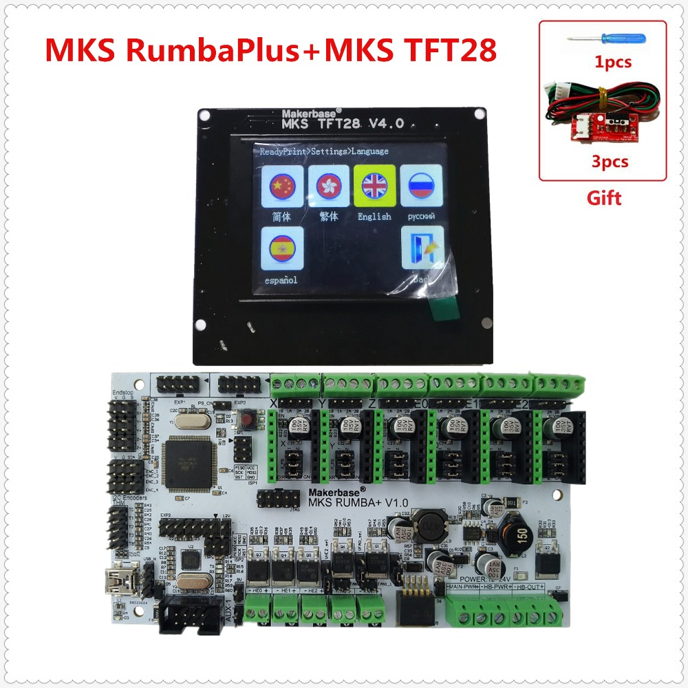 3D printer mother board MKS Rumba + MKS TFT28 v4.0 touch screen display LCD all in one board DIY kit controller card Rumba-board