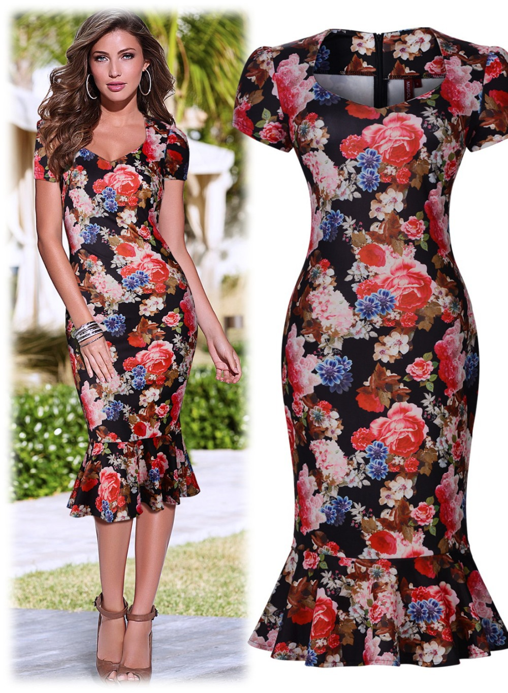 Free shipping Women\'s Hawaiian Holiday Floral Print Summer Stretch ...