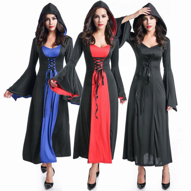 Halloween Witch Costume Scary Vampire Cosplay Costumes Hoodie Grim Reaper Women Long Dress Cosplay Clothes Stage Suit