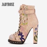 Jady вышитые розы Для женщин ботильоны на высоком каблуке женские осенние с заклепками ботинки на платформе Mujer из натуральной кожи на шнуров