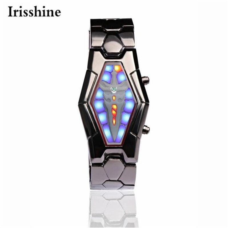 Irisshine i0866 brand luxury Men watches montre homme Lava Style Iron Samurai Black Bracelet LED Japanese