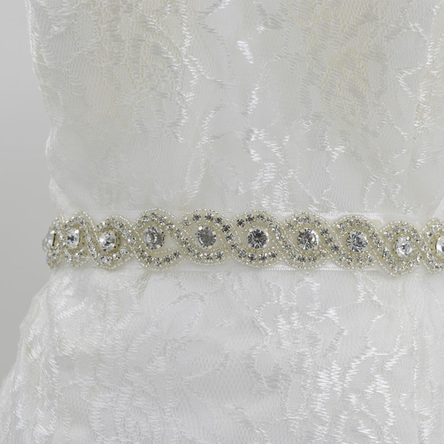 cintos para vestidos de noiva	Crystal Stone Belts Dazzling Beaded Bridal Belt High Quality Satin Wedding Sashes for Women S595