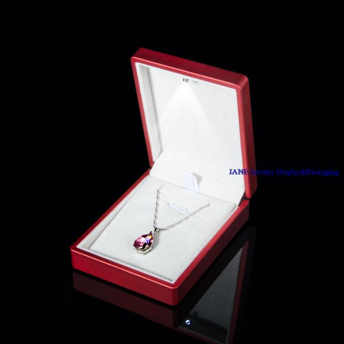 High End Red Rubber LED Light Pendant Box for Jewelry Packaging Boxes Gift Spotlight Earring Boxes Necklace Storage Container