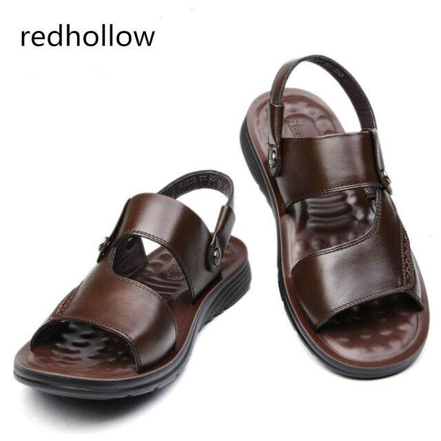 7c76b2d2b5407 2018 Men Fashion Sandals Men s Slippers Leather Shoes Summer Beach Sandals  Casual Soft Men Shoes Flip-Flops Zapatos Big Size 47