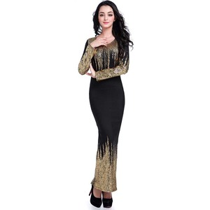Image 2 - משלוח חינם חדש אפריקאי נשים קיץ שמלת זהב רדיד Slim ארוך שרוול שמלת Bronzing קצף אופנה חמה מכירות
