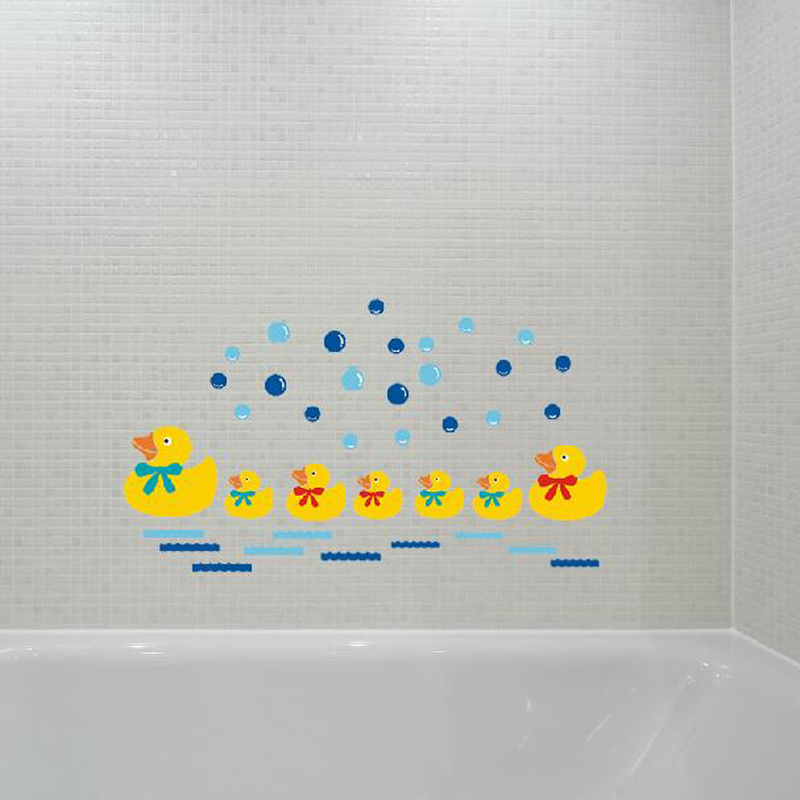 new arrival little yellow duck child real water bathroom glass waterproof wall stickers home decor