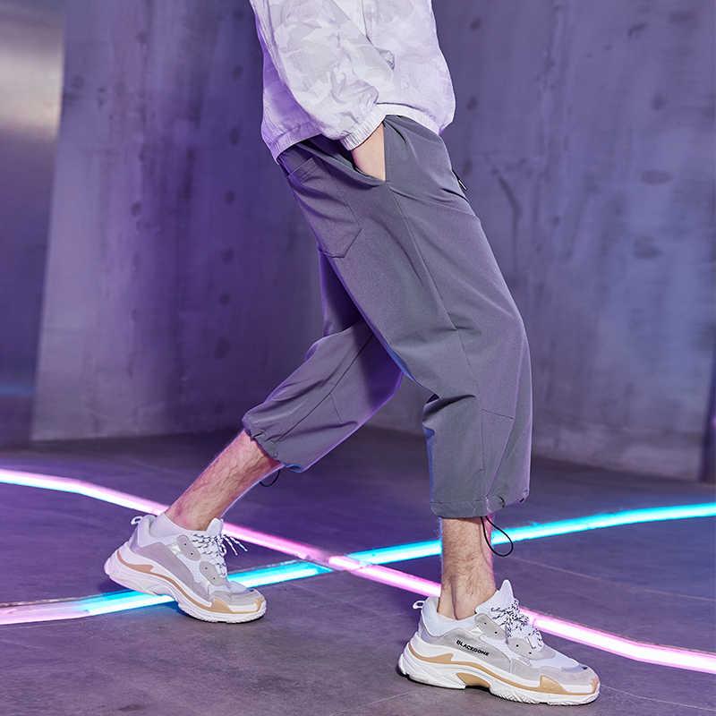 파이어 니어 캠프 2019 여름 새로운 넓은 다리 얇은 스트레이트 캐주얼 느슨한 남성 바지 남성 7 분 바지 바지 axx901097