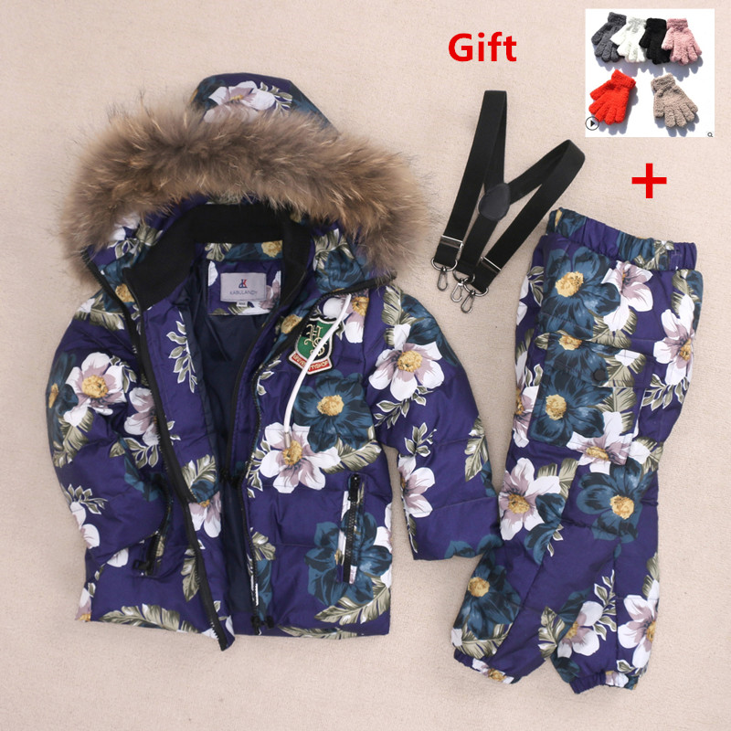 KABULANDY Children Down Jacket Set Girl Boy Winter Coat Pants 2Pcs Thick Kids Ski Suit Warm Clothes set For Children 2-8 Years цена