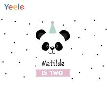 Yeele Cartoon Panda Polka Dots Baby Birthday Party Backgrounds For Photography Customized Photographic Backdrop for Photo Studio