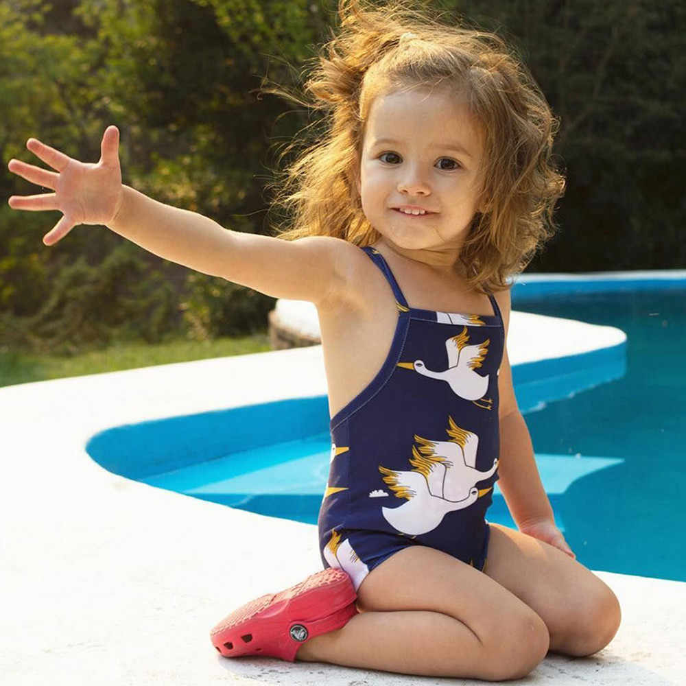 37c752bc6ba18a Baby swimwear Infant Kids baby girl beach Cartoon Crane Print Bikini Streps Swimsuits  Girls Bathing Suit