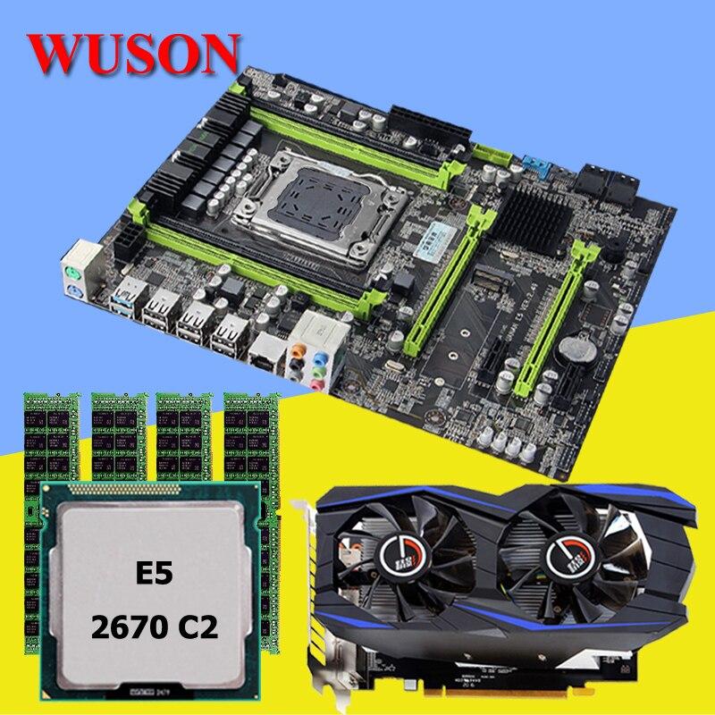HUANAN X79 LGA2011 V2 49 motherboard set Intel Xeon E5 2670 C2 and 4 8G 32G