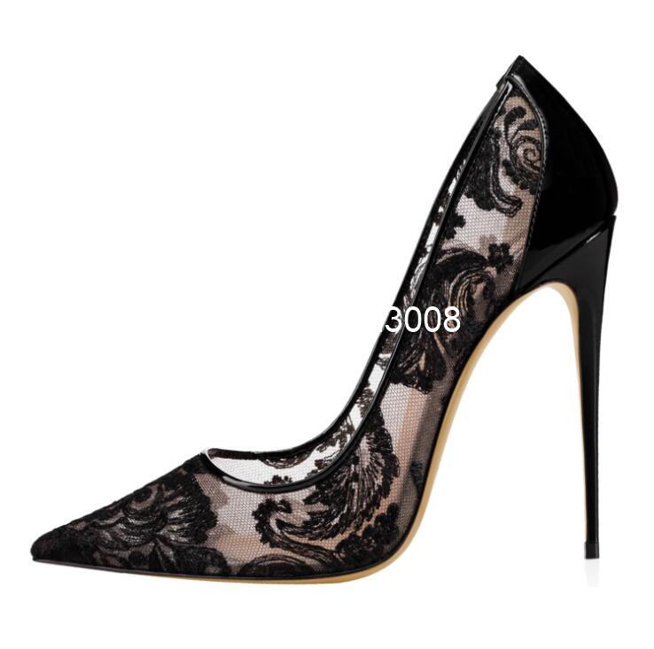 Super High Heel White Pumps Lace Women High Heel Shoes Hollow Pointed Toe Wedding Shoes Big Size 46 Black Sexy Heels Dress Shoes