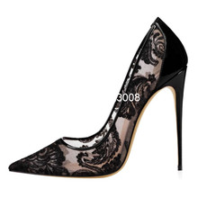 White Pumps Sexy Heels High-Heel Shoes Lace Pointed-Toe Black Big-Size Hollow Women 46
