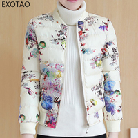 EXOTAO Floral Printed Women Jacket Stretchable Fit Shortline Autumn Winter Coat Thick Long Sleeved Zipper Chaqueta