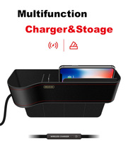 Qi Wireless Charger Car Organizer Wireless Charging DOCK Station Storage Box Holder Car Seat Slit Gap For all phones
