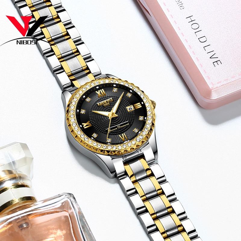 Relogio Feminino NIBOSI  Brand Luxury Women Watches Waterproof Lady Watches 2018 With Crystal Quartz Watches Women Gold  Clock