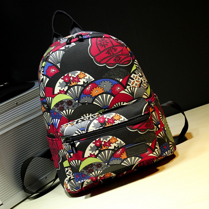 Fahsion Flower Fan Leaf Printing School Bags Woman Canvas Backpack Girls Schoolbag Travel Bagpack Student Casual Mochila Bookbag ...