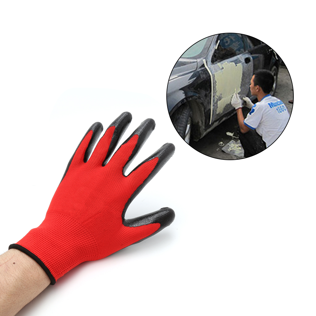 1 Pair Nitrile Coated Working Gloves Nylon Safety Labour Factory Garden Repair