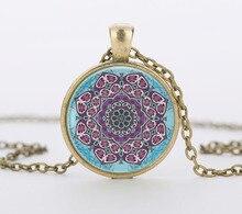 vintage henna yoga pendant jewelry purple mandala flower necklaces dome glass rhinestone necklace om symbol buddhism zen c-n 847