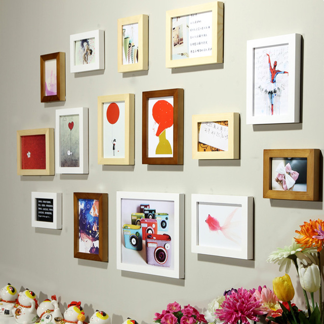 15pcs Wood Photo Frame Combo Pine Wooden Picture Frames Multicolor ...