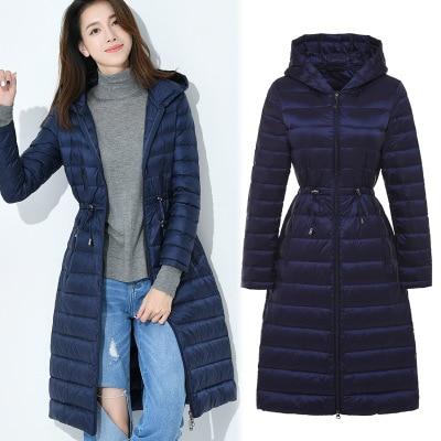 2018 New Style Winter Jacket   Down     Coat   Women Slim Hooded Middle Long Duck   Down     Coat   Woman Solid Ladies Parkas