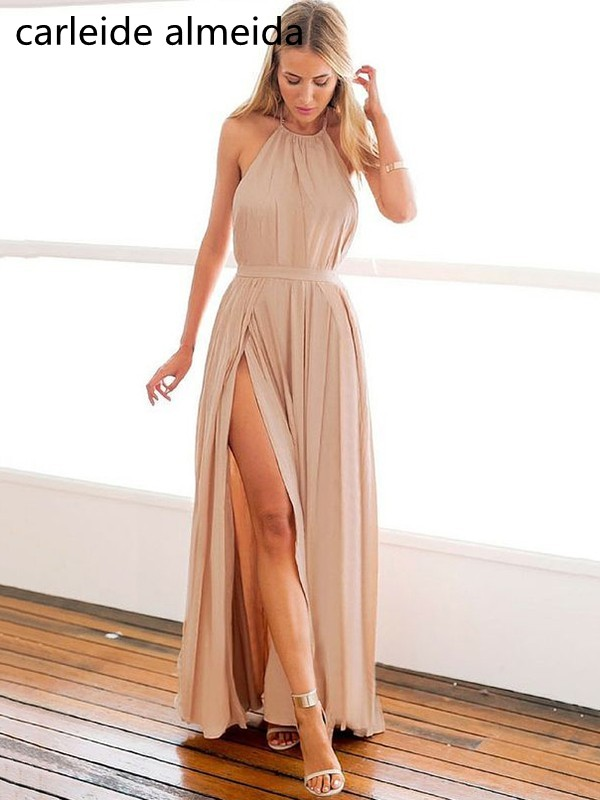 A-Line Chiffon Prom Dresses Pleated Long Gala jurken Backless Sexy Prom Dress Formal Dress Women Vestido de baile