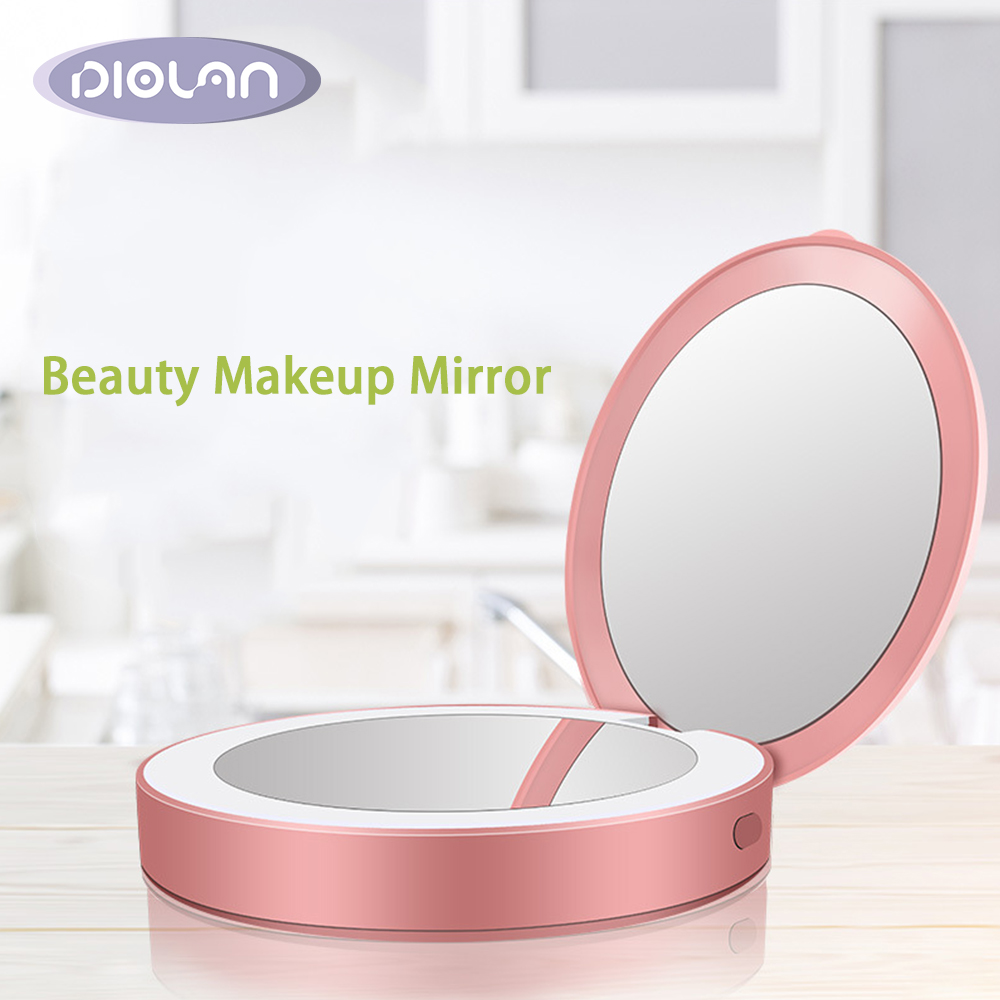 DIOLAN 1Pc Portable Makeup Mirror Solid Color Metal Round Case Double-Side Pop-Up Pocket Mirror Beauty Accessories Rose GoldDIOLAN 1Pc Portable Makeup Mirror Solid Color Metal Round Case Double-Side Pop-Up Pocket Mirror Beauty Accessories Rose Gold