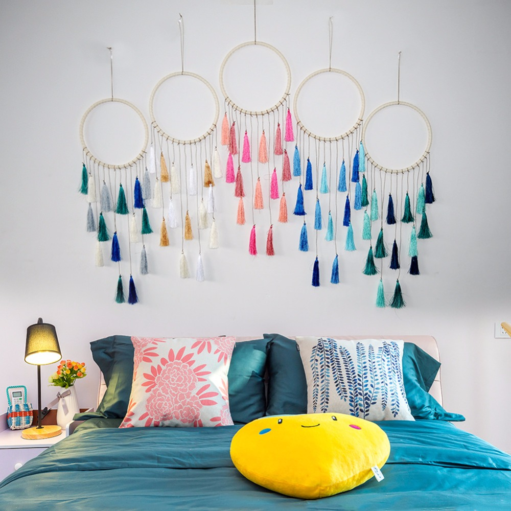 Hand woven Bohemian tapestry creative bedroom hanging decoration dreamnet Nordic style tassel wall hanging family decorations