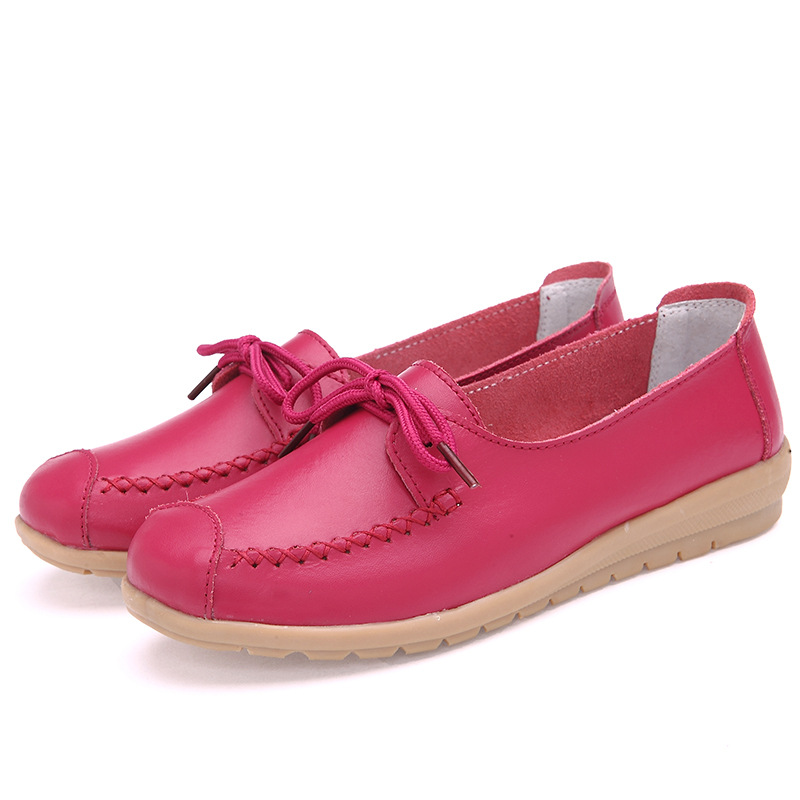 2019 New Candy Color Genuine Leather Women Flats Nurse Shoes Loafers Cowhide Flexible Spring Casual Ballerina Shoes