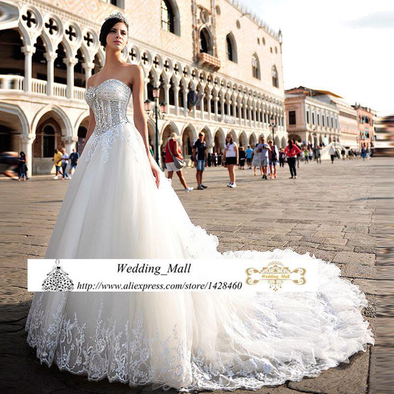 Luxury Organza Sweetheart Wedding Dresses Lace Appliqued 2017 Corset Rhinestone Cheap Bridal Gowns Abiti Da Sposa Custom In From Weddings