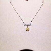 ANI 18K White Gold (AU750) Pendant Necklace Certified 0.347 Carat I/SI Natural Yellow Diamond Women Engagement Princess Necklace