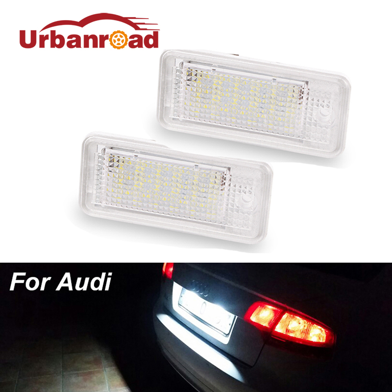 2pcs 6000k Led Number License Plate Light 18SMD 3w Led Car Number Plate For Audi A4 A6 C6 A3 S3 S4 B6 B7 Rs6 Q7 S6 A8 S8 Rs4 vodool 1 pair led car license plate lights 6500k vehicle lamps car styling for audi a3 a4 b6 b7 a6 a8 q7 a5