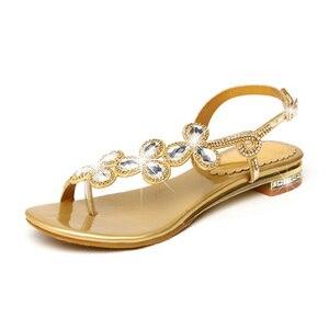 Image 2 - Cuculus 2020 nova boêmia sandálias femininas cristal sandalias strass corrente sapatos mulher tanga flip flops zapatos mujer pd21