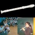 Hot! Plásticos brancos Gravador Soprano Instrumento Musical de 8 Buracos Flauta Longa Nova Venda