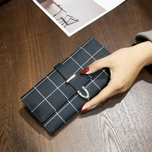 Wallets long with leather plaid fashion woman