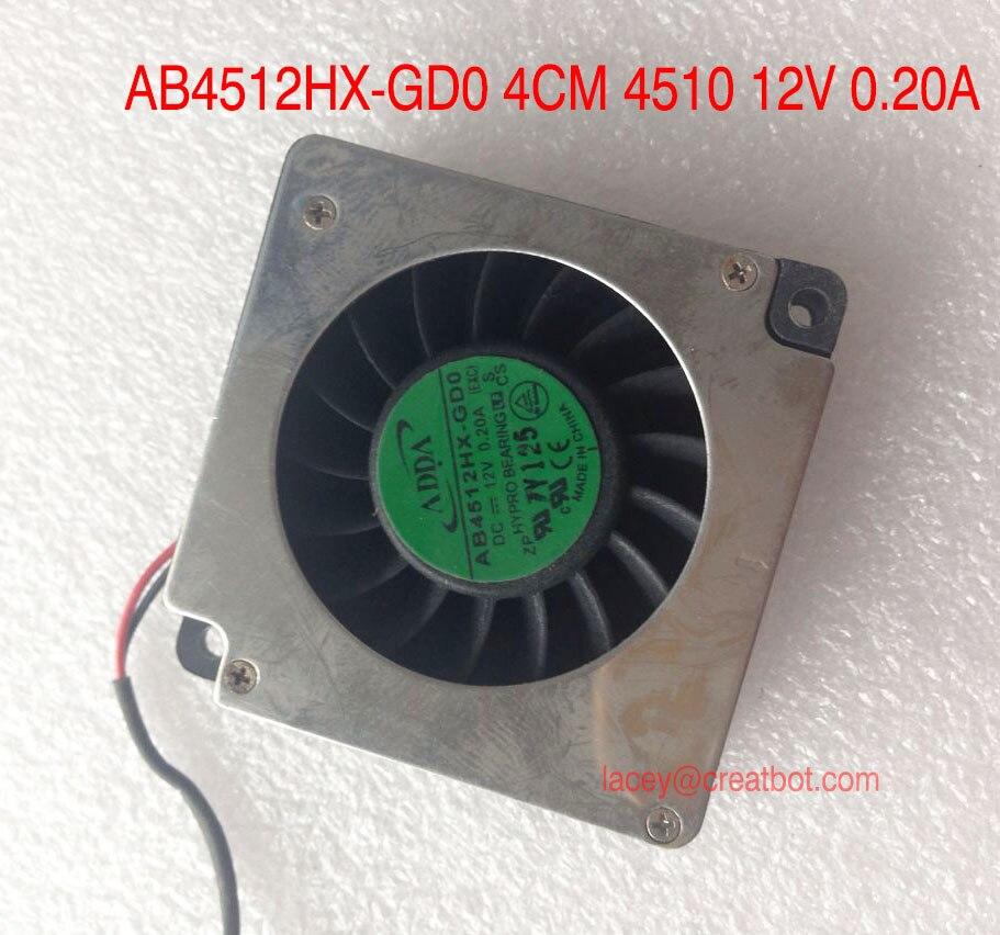 5 pieces/lot CreatBot Original parts fans size AB4512HX-GD0 4CM 4510 12V 0.20A for DX printer D600 printer